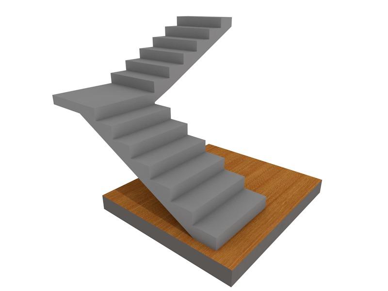 бетонная лестница поворотная на 90, с площадкой