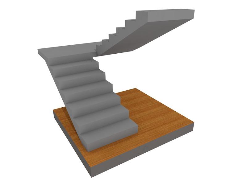 бетонная лестница поворотная на 180, с площадкой