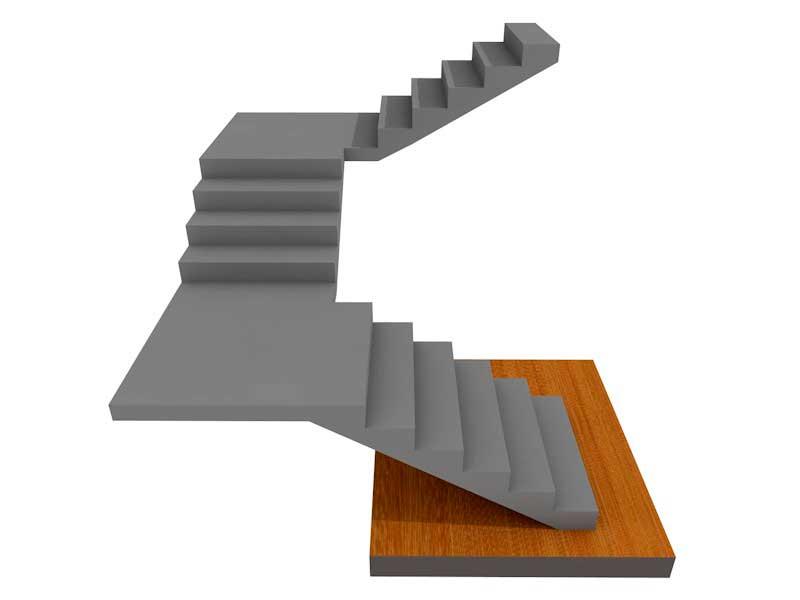 бетонная лестница поворотная на 180, с двумя площадками