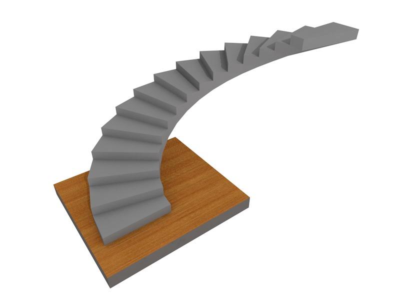 монолитная лестница из бетона, полукруглая на 180, с забежными ступенями