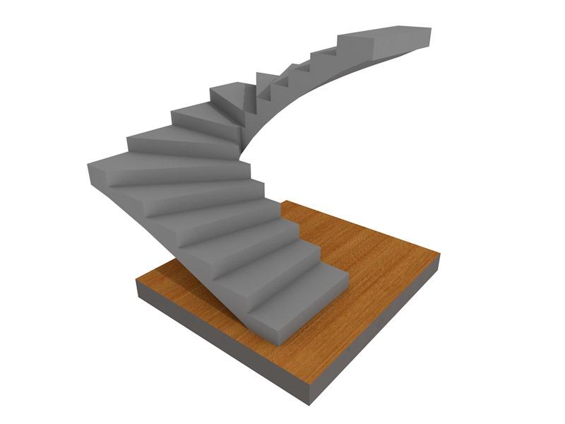 бетонная летница Поворотная на 180, с забежными ступенями