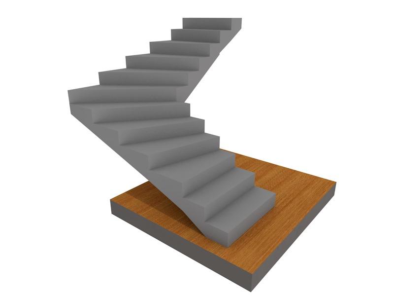бетонная летница Поворотная на 90, с забежными ступенями